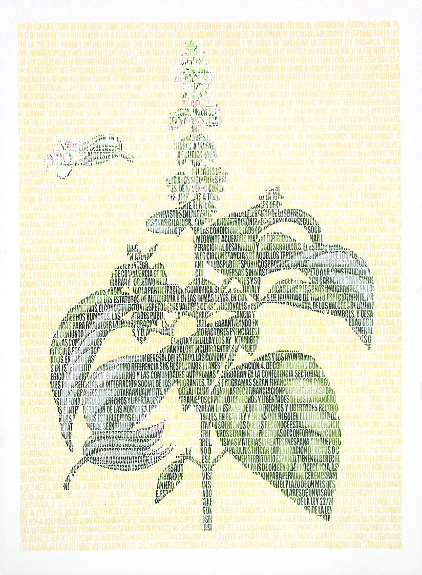 Riad Ocinum.  Lápices de colores sobre papel. 87x67cm.