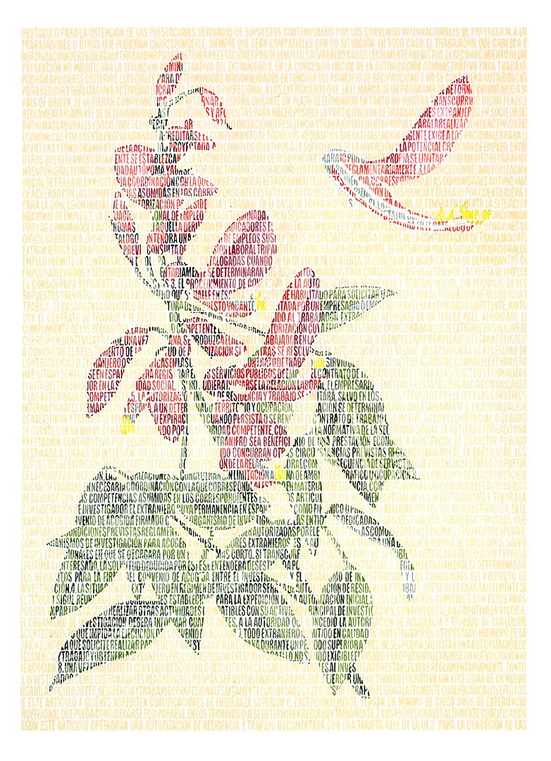 Hamlet Fabaceae.  Lápices de colores sobre papel. 87x67cm.