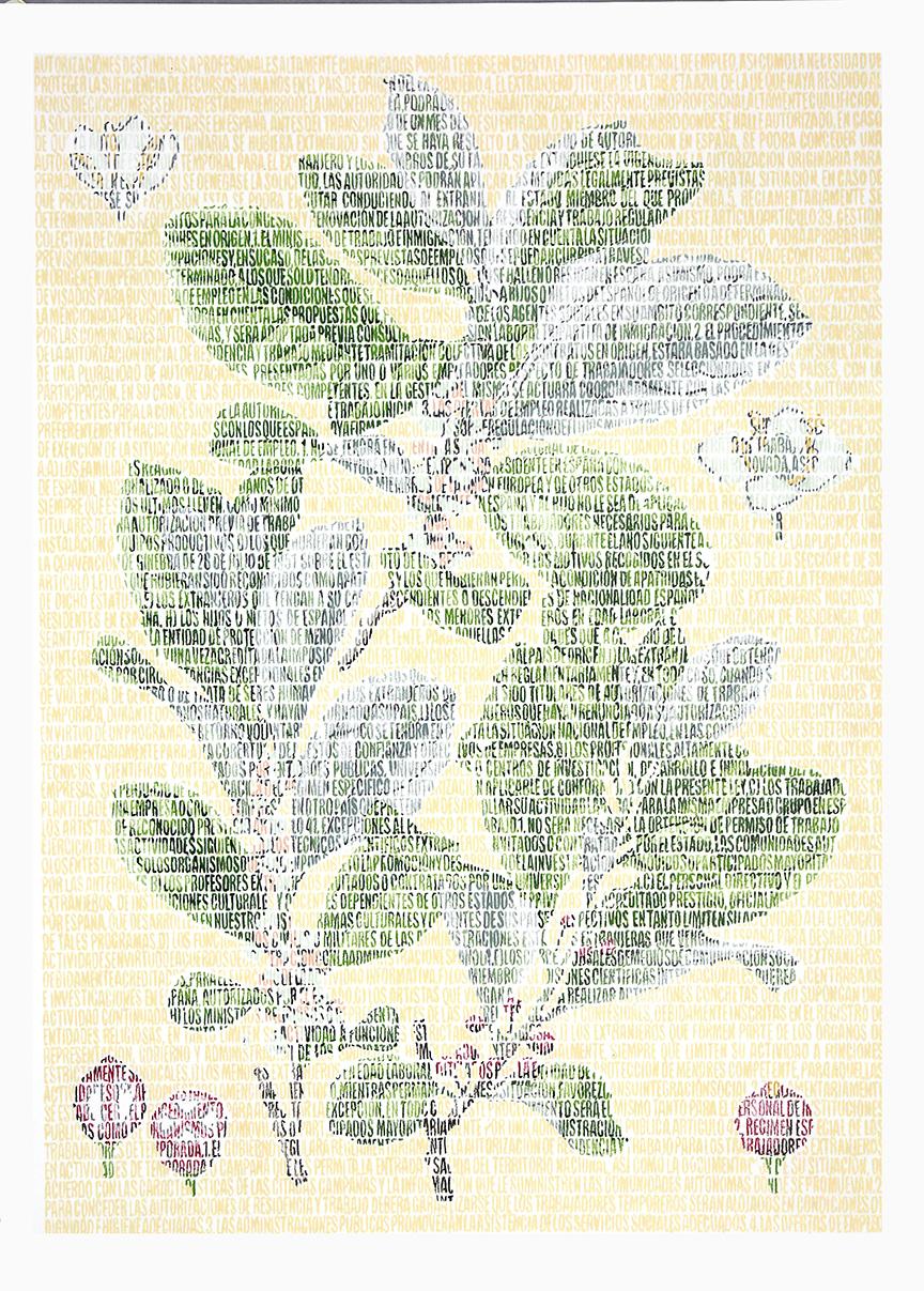 Alina Aquifoliaceae. Lápices de colores sobre papel. 87x67cm.