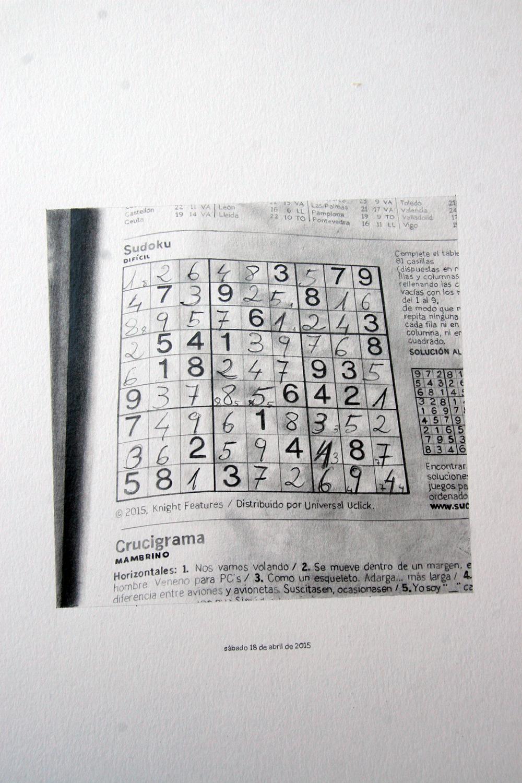 Sudoku de sábado, 2016. Grafito sobre papel. Políptico de 12. 38 x 29 cm.