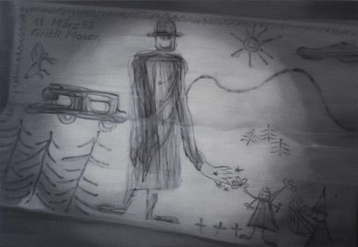 Escena del crimen: dibujo firmado al óleo, 2016 Óleo sobre tela  45 x 63 cm