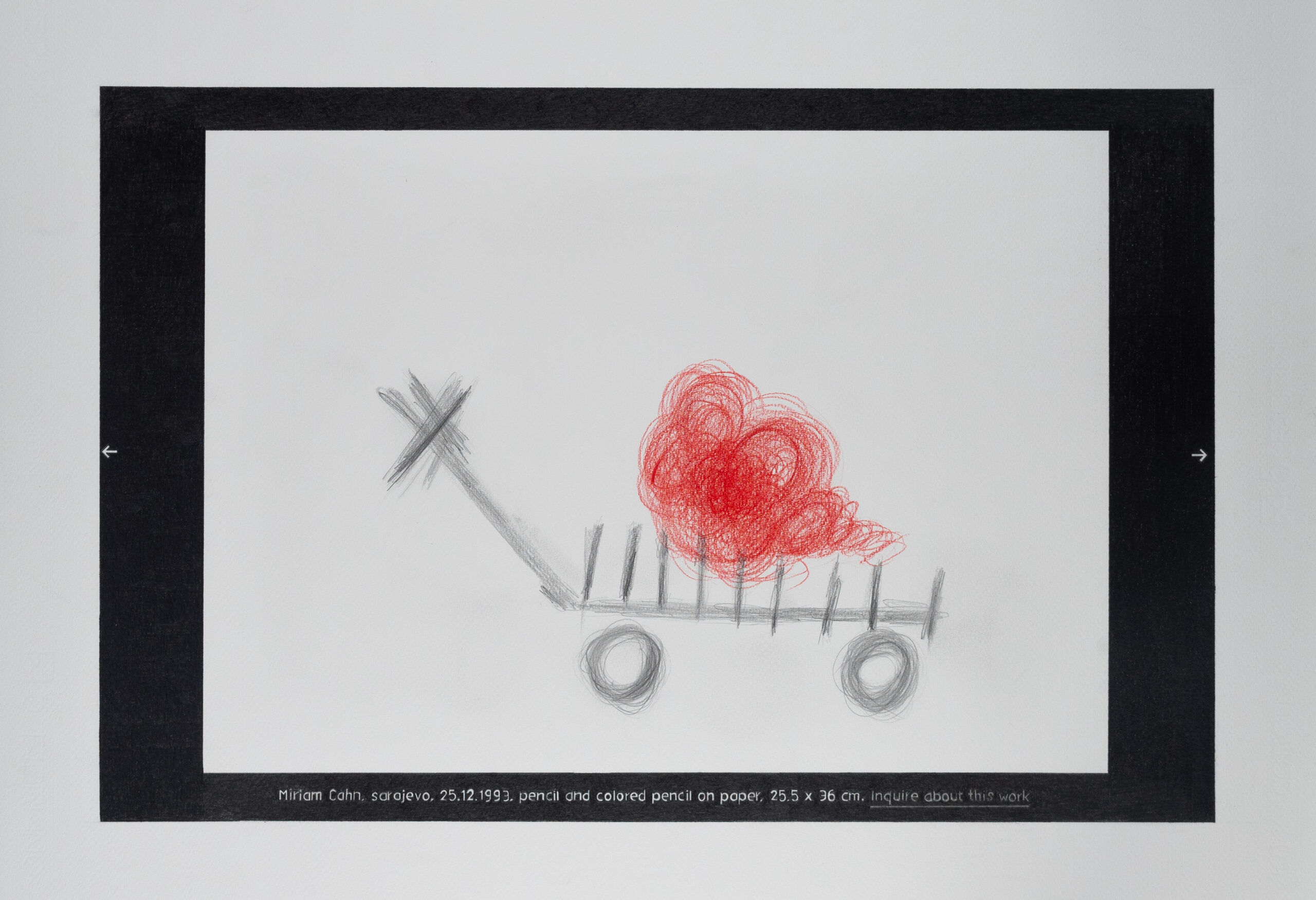 CAPTURA (MIRIAM CAHN 1) 50 X 70'5 cm.Grafito y lápiz rojo sobre papel.2020